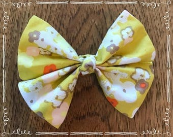 Yellow Floral Fabric Hair Bow