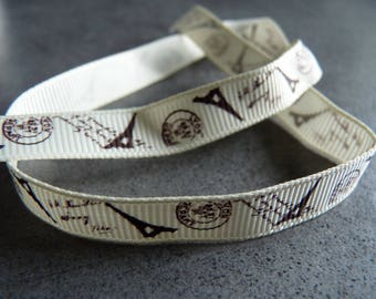 Ribbon grosgrain theme Paris 50 cm x 1 cm