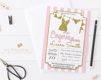 Lingerie Bridal Shower Invitation / Digital Printable Invite for Wedding / DIY Party