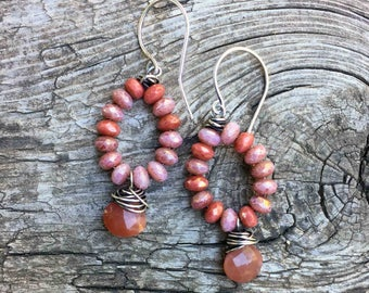 Small Beaded Loop Earrings with Fire Polished Czech Glass Beads Wire Wrapped Peach Moonstone Briolettes Natural Stone Handmade