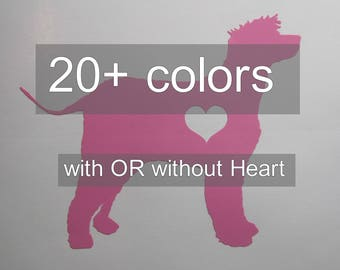 Irish Water Spaniel Vinyl Decal / Sticker *Available in 20+ Colors* --- with OR without Heart --- dog silhouette