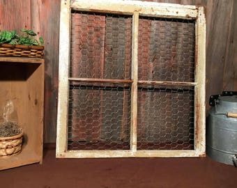 Old Window, chicken wire, up-cycled home office decor, vintage, 4 pane
