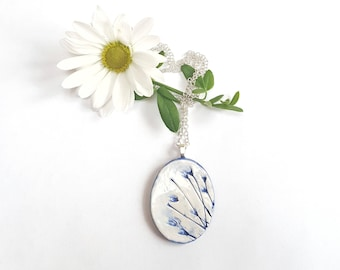 Ceramic Pendant with Silver Bail and Optional Sterling Silver Chain for Women - Unique, Blue, Painted, Floral Themed, Oval Shaped