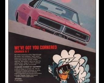 "Vintage Print Ad 1960s : Dodge Charger R/T Automobile Car Wall Art Decor 8.5"" x 11"" each Advertisement"