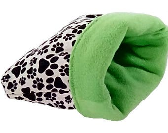 Guinea pig green pawprint snuggle bag, ferret, hedge hog, rat, gerbil, hamster