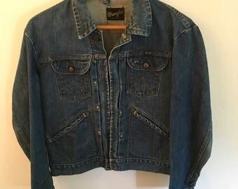 Vintage Talon Zipper Men's Wrangler Denim Jacket