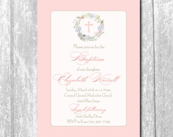 Baptism Girl Invitation Christening/printable/Digital File/Baptism Christening Invitation, Floral Wreath, Cross/Wording can be changed