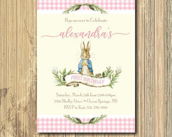 Peter Rabbit Birthday Invitation printable/Digital File/Girl birthday, Beatrix Potter, Easter, bunny birthday, first/Wording can be changed