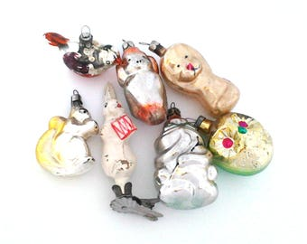 Set of 7 Vintage soviet glass Christmas tree decorations, Animal, Xmas ornaments, Made in USSR, 1950-60s