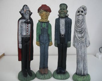 Ceramic Halloween Vampire,Frankenstein,Ghost,Scarecrow Halloween Decorations set of 4