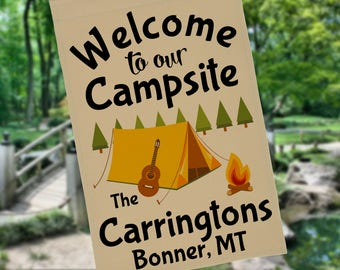 Welcome to our Campsite Personalized Camping Garden Flag or Wall Hanging, Camping Sign, Father's Day Gift, Stand NOT Included