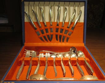"1847 Rogers Bros ""LeiLani"" Vintage 1960's Silver Plate Floral Flatware Set 54pc 8 Place Setting + Dining Serving Tableware Silverware"