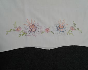 Vintage pillowcase with floral embroidery