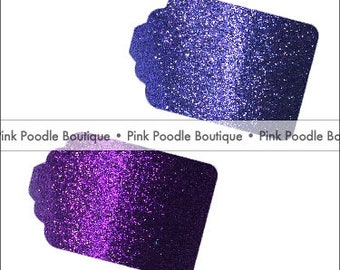Glitter GIFT/FAVOR TAGS (12 pc) -- Dark Purple