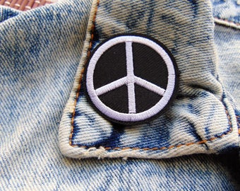 Round Peace Symbol Sew / Iron on Embroidery Patch Black & White Badges for Jeans T Shirts or Custom Clothing UK New Ready to Use Adhesive