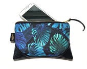 Mini Midnight Monstera Zipper Pouch / Clutch with inside lining and Zipper Pull or Leather Wristlet Strap