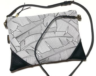 BW Banana Leaf x Black Crossbody Convertible Zipper Clutch / Purse with Zipper Pull and Interchangeable Purse Strap