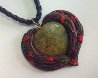 Heart Amulet pendant, Polymer clay pendant, Unakite jewelry, Unakite necklace, Tumbled unakite, Heart gemstone, Heart necklace,Heart jewelry