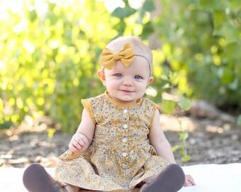 Mustard color hair bow.. yellow hair bows.Sailor bows.. nylon headband.. little girl bows. baby headbands