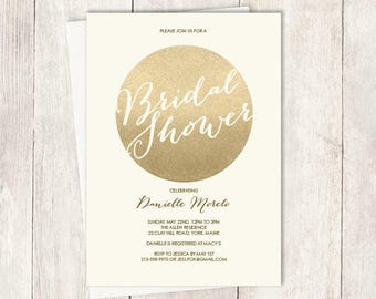Gold Sparkle Bridal Shower Invitation DIY / Metallic Gold and Cream / Champagne Gold ▷ Personalized and emailed printable file