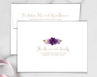 Purple Envelopes with Guest & Return Address Printing / Purple Flowers, Anemone, Peony, Ranunculus, Rose Gold ▷ INVITE {or} RSVP Envelopes