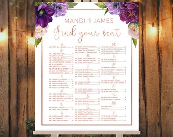 Alphabetical Seating Sign / Purple Seating Chart  / Purple Flowers, Anemone, Peony, Rose Gold Wedding ▷ Printed Paper, Canvas {or} Printable