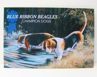 Beagle Dog-Tin Sign-Blue Ribbon Beagles Champion Dogs-1990s Vintage Metal Sign of Dogs Standing In Water Pond-Brown White Black Coloring