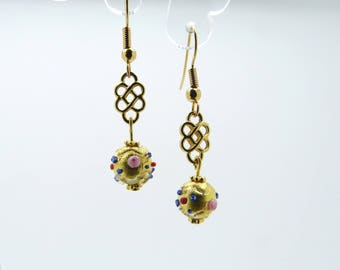 Flower Earrings with gold foil Murano glass