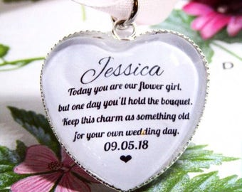 Flower Girl Personalised Bouquet Wand Posy Charm Heart Shaped Custom Name And Date Quote