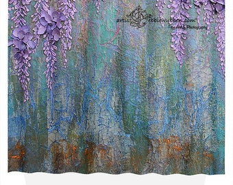 Wisteria Purple Floral Shower Curtain Blue Green Flower Abstract Drape Tub Surround Privacy Screen Room Divider Photo Back Drop Photo Prop