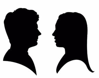2 Custom Hand Cut Silhouette Portraits: Great Valentine's Day or Holiday gift