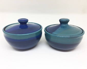 Ceramic Sugar Bowl / Blue / Handmade Pottery