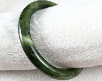 Jade Dark Green Spinach Jade Round Edge Bangle