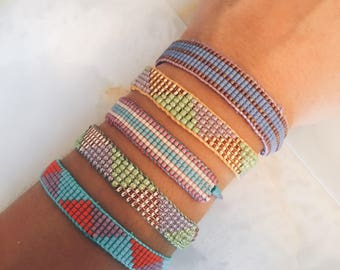Patterned Seed Bead Woven Beaded Bracelet