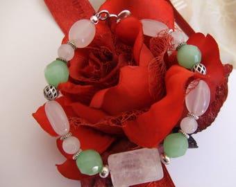 Bracelet pastel pink and green beads semi-precious