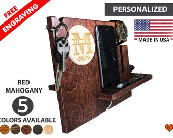 Christmas gift, Iphone 7 Docking Station, Personalized Docking Station, Mens Gift, Gifts For Husband, Anniversary Gifts for Men,