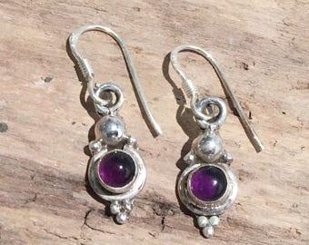 Vintage Amethyst Earrings...Sterling Silver Earrings...Handmade Vintage Earrings...Ethnic...Hipster...Gypsy...Vintage Shop...