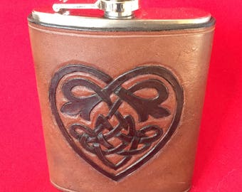 Rustic Carved Celtic Knot Heart, 8 oz. Stainless Steel Flask