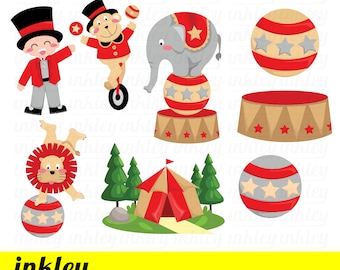 50%OFF!! Circus Birthday Clipart - Cute Clipart, Animal Clipart, Fun Clipart, Clipart Set, Adorable Digital Clip Art