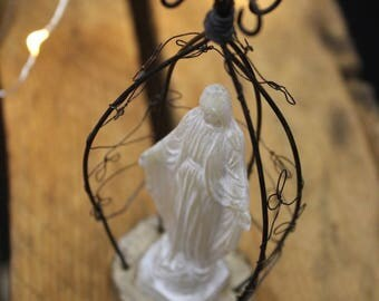 SCULPTURE of wire statue of Virgin Mary religious vintage