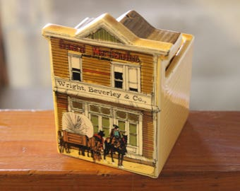 Vintage 1980 Old West Main Street Salt and Pepper Caddy With One Shaker Enesco