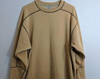 Yellow Oversized Crewneck Sweatshirt w/ Black Contrast Stitching by World Island 1990s Vintage