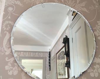 Vintage Bevelled Fancy Edge Art Deco Round Mirror
