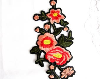 Duglia Iron On Flower Patch,Peach Flowers Applique,Red and yellow seed Flower Appliques,Flower Branch Patch,Iron On Patch,Mesy Flower Patch
