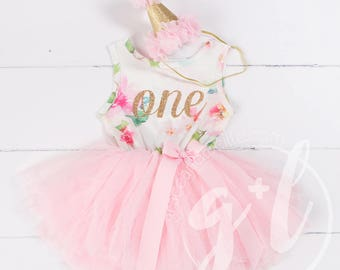 Pink Floral First Birthday Outfit, First Birthday Dress, 1st birthday outfit, 1st birthday dress, Floral, Pink