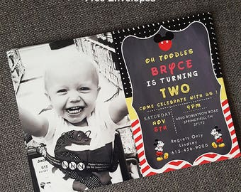 FREE SHIPPING - Oh Twodle invitation, Oh-Twodle Invitation, Oh Twodles Birthday Invitation, Oh-Twodles Birthday Invitation, Oh Twodles