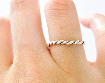 Stackable ring, Rope ring, Silver ring, Ring, Brided ring, Simple ring