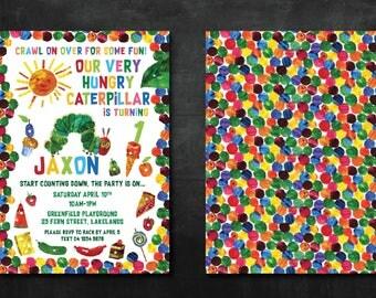 The Very Hungry Caterpillar Invitation - Customized Digital file