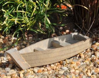 Wood Fishing Boat for Miniature Garden, Fairy Garden