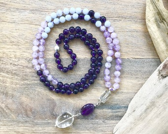 Amethyst,  Lavender Amethyst and Blue Lace Agate Mala Beads   / 108 mala Necklace / Meditation Gifts / Yoga necklace / Japa Mala